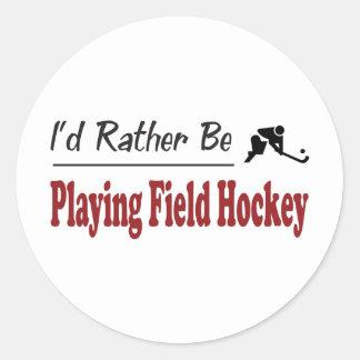 Sea bastante hockey de terreno de juego pegatinas redondas