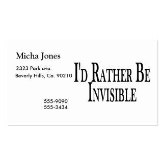 Sea bastante invisible tarjeta de visita