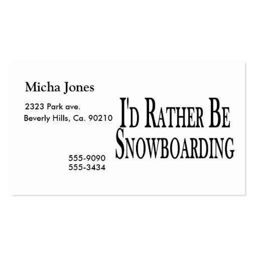 Sea bastante snowboard tarjetas de visita