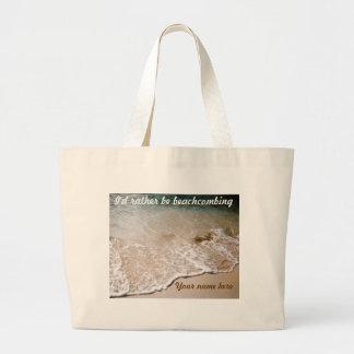 Sea bastante tote personalizado Beachcombing Bolsa Tela Grande