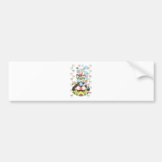 Sea bathing cat in summer bumper sticker