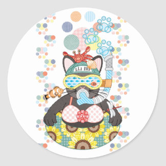 Sea bathing cat in summer classic round sticker