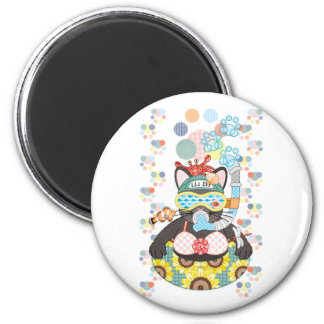 Sea bathing cat in summer magnet