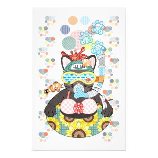 Sea bathing cat in summer stationery