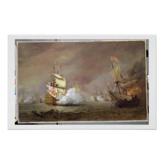 Sea Battle of the Anglo-Dutch Wars, c.1700 (oil on Poster