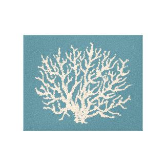 Sea Beach House Coral Wall Art Canvas