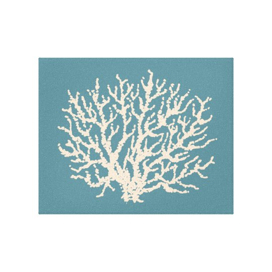 Sea Beach House Coral Wall Art Canvas