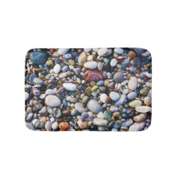 Sea Beach Pebbles and Colorful Rocks Bath Mat