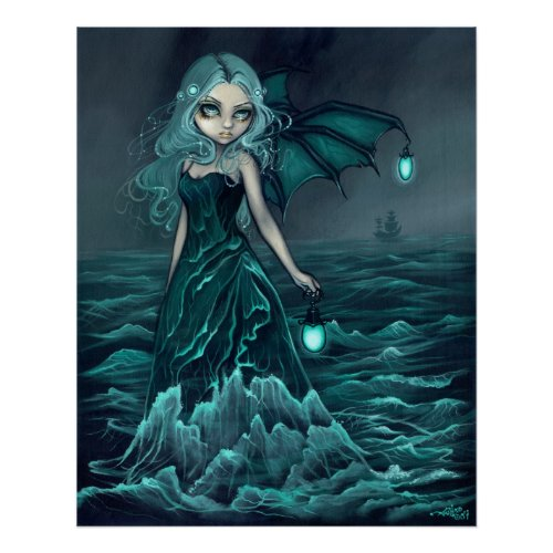 Sea Beacon gothic sea fairy Art Print print