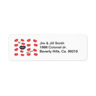 Sea besos rojos y negros únicos etiquetas de remite