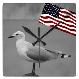 Sea Bird And American Flag Square Wall Clock