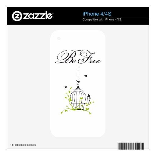sea birdcage libre, abierto con los pájaros y rama calcomanías para el iPhone 4S