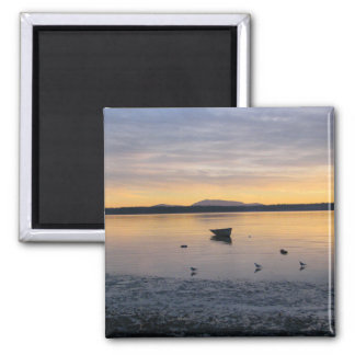 Sea Birds and Boat 2 Inch Square Magnet