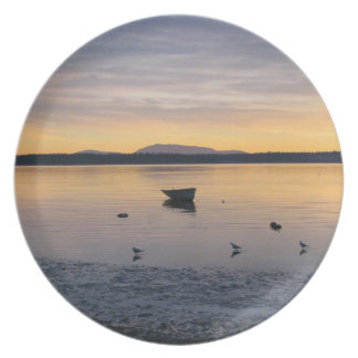 Sea Birds and Boat Dinner Plate