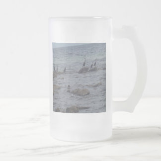 Sea Birds Frosted Glass Beer Mug
