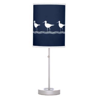 SEA BIRDS White on blue Hanging Lamp