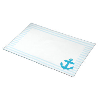 Sea Blue Anchor and baby blue Sailor Stripes Cloth Placemat