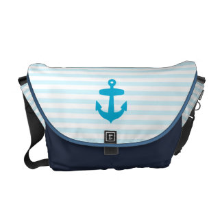Sea Blue Anchor and baby blue Sailor Stripes Courier Bags