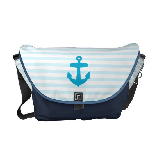 Sea Blue Anchor and baby blue Sailor Stripes Messenger Bag