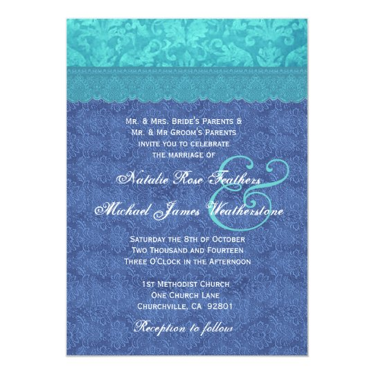 Sea Blue and Aqua Blue Damask Wedding G500F Card
