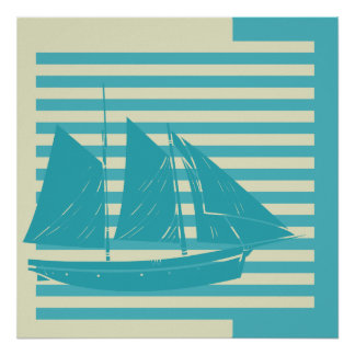 Sea Blue and Off White Stripes With Sailing Ship Poster