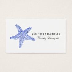 Sea Blue Beach Starfish Business Card at Zazzle