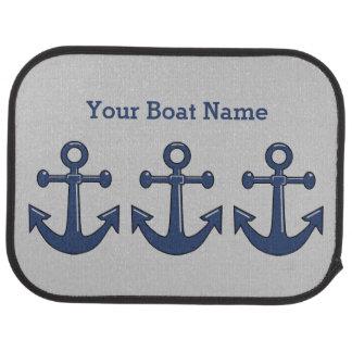 Sea Blue Boat Anchor and Customized Ship Name Car Floor Mat