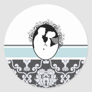 Sea Blue First Kiss Wedding Seal Classic Round Sticker
