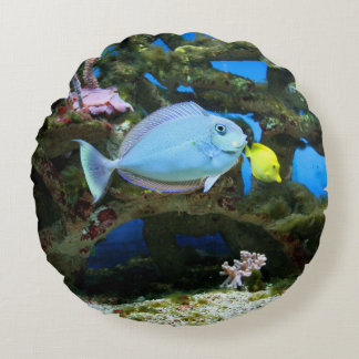 Sea Blue Fish Round Pillow