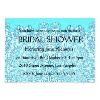 Sea Blue Fuschia Flower Wedding Invitation