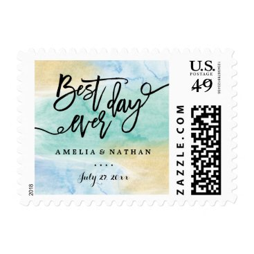 Beach Themed Sea Blue Gold Watercolor Best Day Wedding Stamp