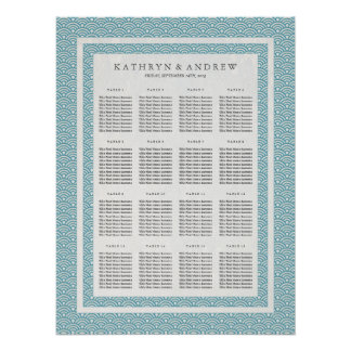 Sea Blue Green Wave Pattern Wedding Seating Chart