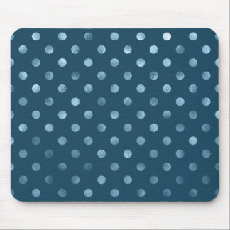 Sea Blue Metallic Faux Foil Polka Dot Aqua Dots Mouse Pad