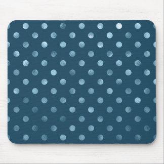 Sea Blue Metallic Faux Foil Polka Dot Aqua Dots Mouse Pad