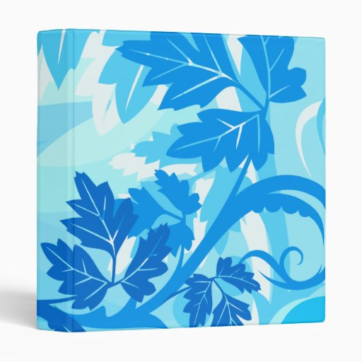 Sea Blue Modern Leaf and Vine 3 Ring Binders