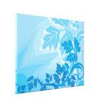 Sea Blue Modern Leaf and Vine Canvas Prints
