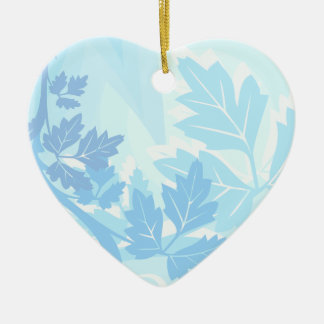 Sea Blue Modern Leaf and Vine Ceramic Ornament
