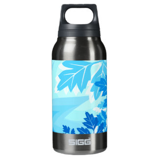 Sea Blue Modern Leaf and Vine Insulated Water Bottle