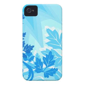 Sea Blue Modern Leaf and Vine iPhone 4 Covers