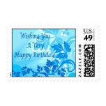 Sea Blue Modern Leaf and Vine Postage Stamps