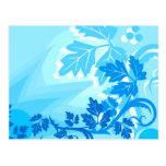 Sea Blue Modern Leaf and Vine Postcard