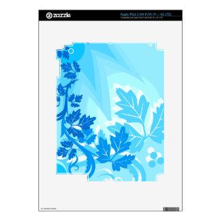 Sea Blue Modern Leaf and Vine iPad 3 Decals
