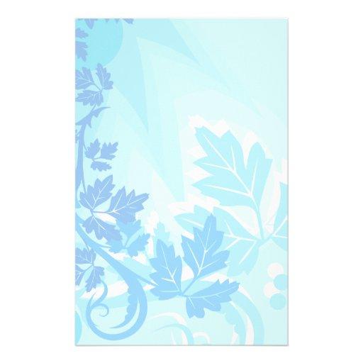 Sea Blue Modern Leaf and Vine Stationery Paper