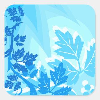 Sea Blue Modern Leaf and Vine Square Sticker