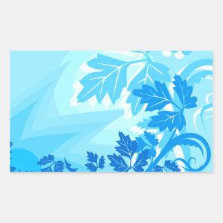 Sea Blue Modern Leaf and Vine Rectangle Sticker