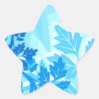 Sea Blue Modern Leaf and Vine Sticker