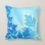 Sea Blue Modern Leaf and Vine Throw Pillows