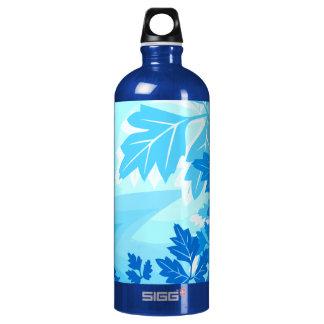 Sea Blue Modern Leaf and Vine Water Bottle