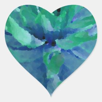 Sea blue, ocean green, dahlia, large bloom heart sticker
