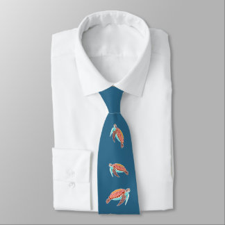 Sea Blue Sea Turtles Neck Tie